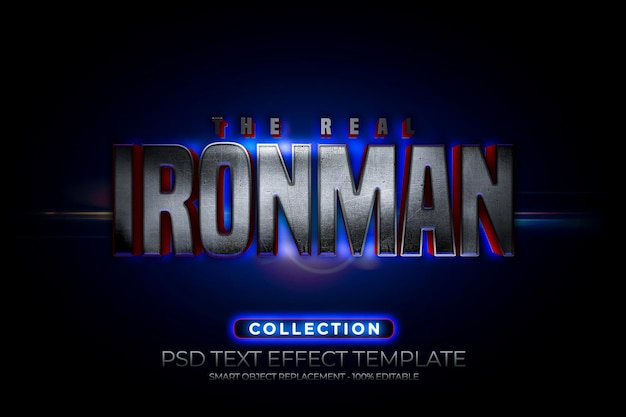 Iron and steel man text effect texture