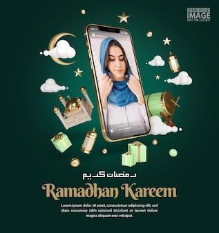スマートフォンのモックアップバナーテンプレートとラマダンカリーム挨拶背景のイスラム装飾