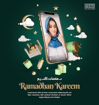 Islamic decoration for ramadan kareem greeting background with smartphone mockup banner template