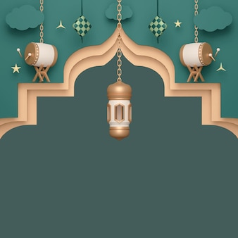 아랍어 랜턴 베두그 드럼과 케투팟이 있는 이슬람 디스플레이 장식 배경