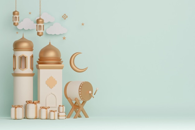 Islamic display decoration background with bedug drum mosque lantern crescent and gift box