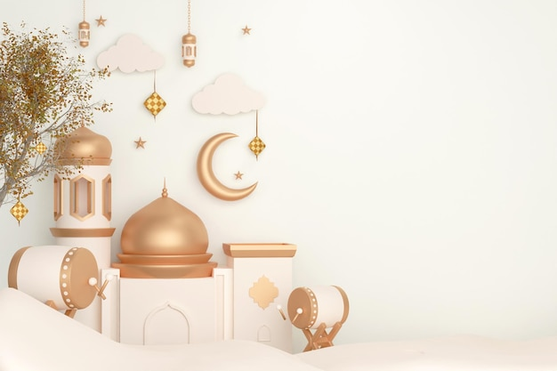 Islamic display decoration background with bedug drum mosque lantern and crescent