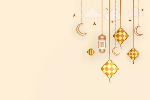Исламский дисплей украшения фон с кетупат полумесяцем фонарем и облаком