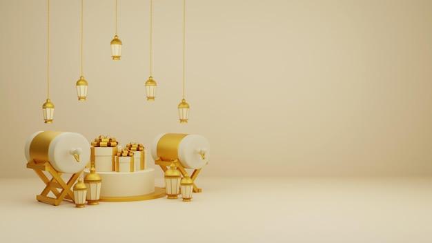 Исламская композиция-украшение-композиция-с-3d-традиционным-постельным-барабаном-подарочными коробками и арабскими фонарями Premium Psd
