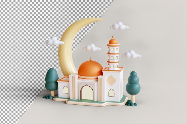 Исламское выставочное здание мечети с золотым куполом и полумесяцем