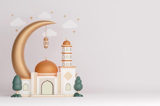 금 돔 초승달 랜턴과 구름이 있는 이슬람 전시 장식 모스크 건물