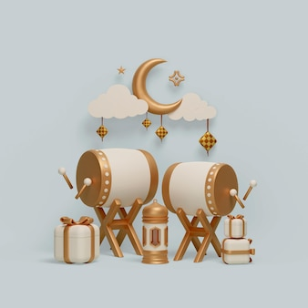 Исламское украшение дисплея с серпом фонаря барабанчика и подарочной коробки иллюстрации Premium Psd