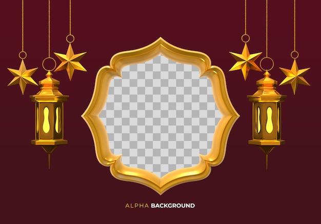 Lampade islamiche e cornice. illustrazione 3d