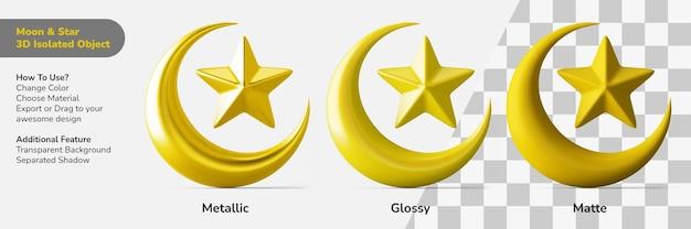 Исламская луна звезда символ 3d дизайн объект изолированный создатель сцены Premium Psd