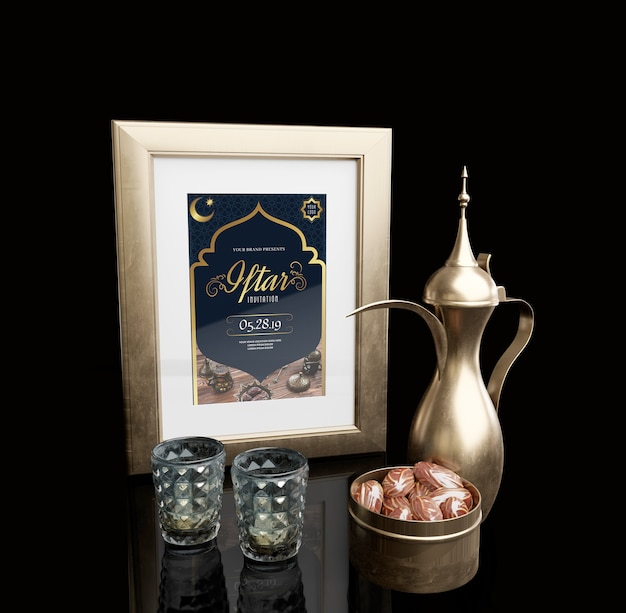 Islamic new year arrangement with dried dates Free Psd