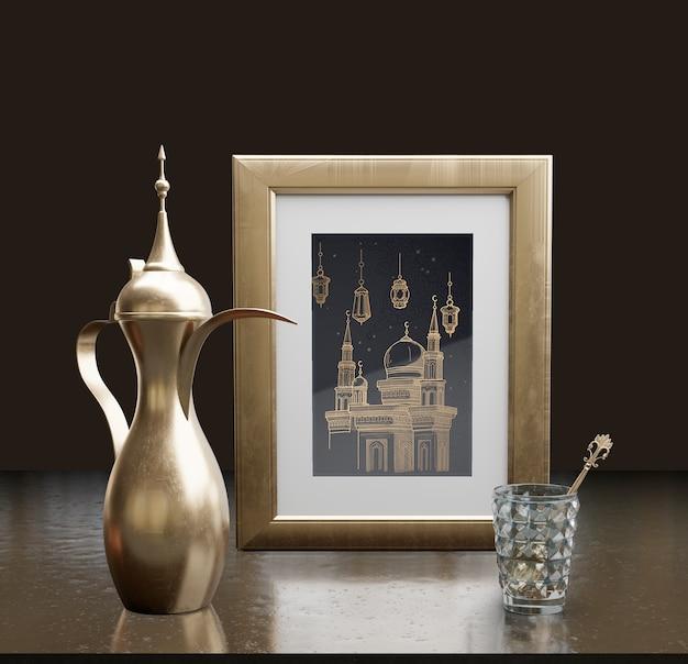 Исламская новогодняя композиция с рамкой и чайником