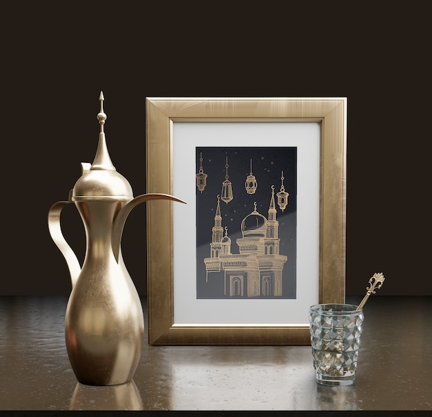 Islamic new year arrangement with frame and teapot