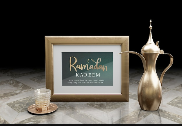 Islamic new year arrangement with golden teapot on marble table