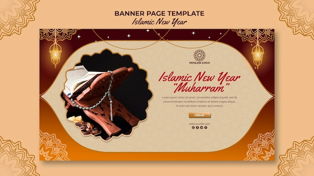 Islamic new year banner page template