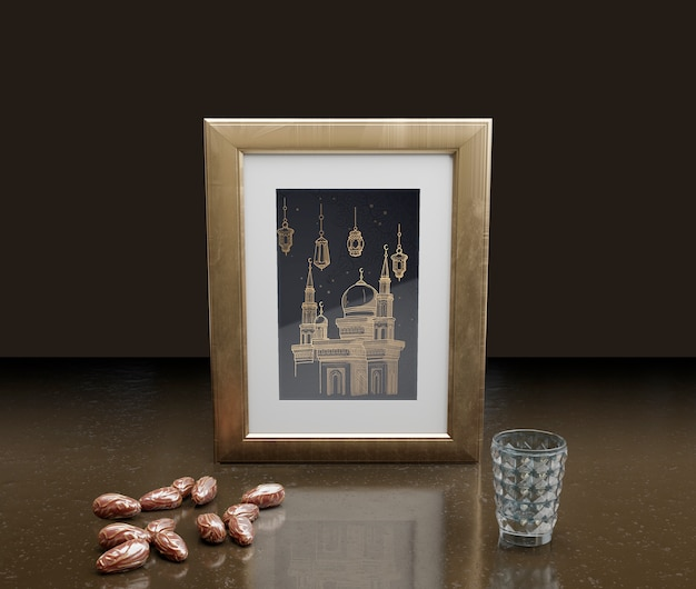 Islamic new year decoration with frame and dried dates