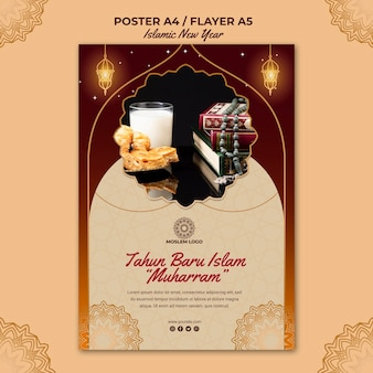 Шаблон флаера исламского нового года