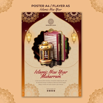 Islamic new year poster template
