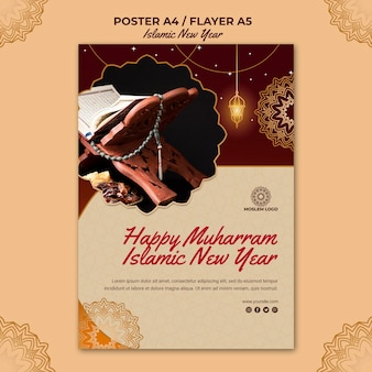 Islamic new year template flyer