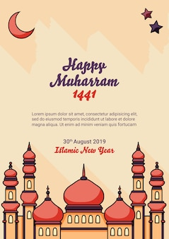 Islamic new year with mosque poster