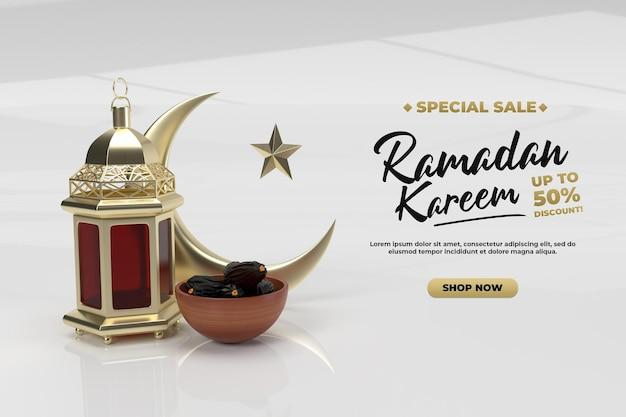 Исламский праздник рамадан приветствия 3d золотой визуализации шаблон