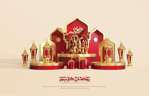 Saluti del ramadan islamico, composizione con lanterna araba 3d, confezione regalo. cannone tradizionale e palco podio rotondo con ornamento moschea