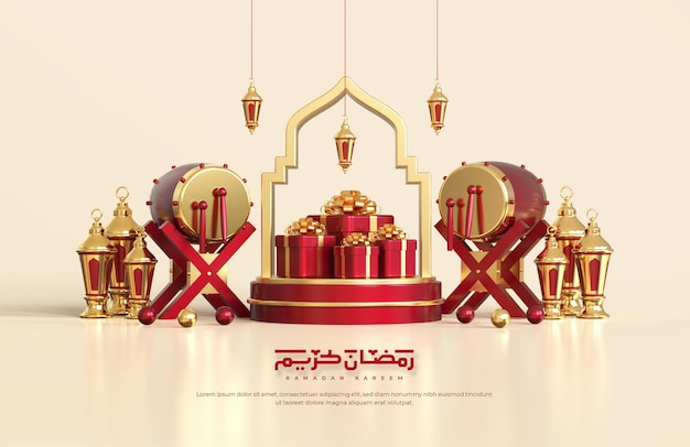Islamic ramadan greetings, composition with 3d arabic lantern, traditional drum, gift box and round podium