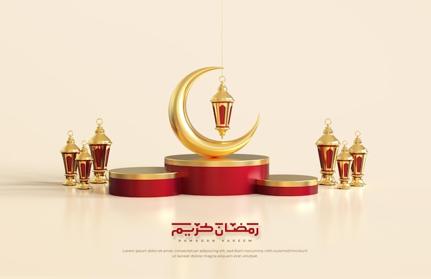 Islamic ramadan greetings, composition with 3d crescent moon and arabic lanterns