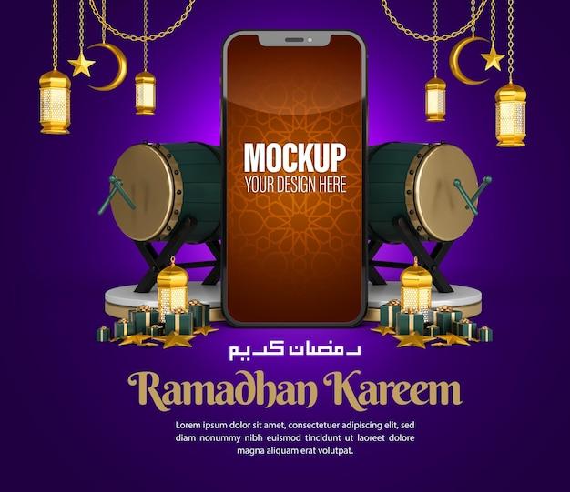 ソーシャルメディアの投稿とマーケティングプロモーションテンプレートのイスラムラマダンカリーム電話モックアップ