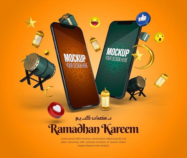 Islamic ramadan kareem phone mockup for social media post and marketing promotion template
