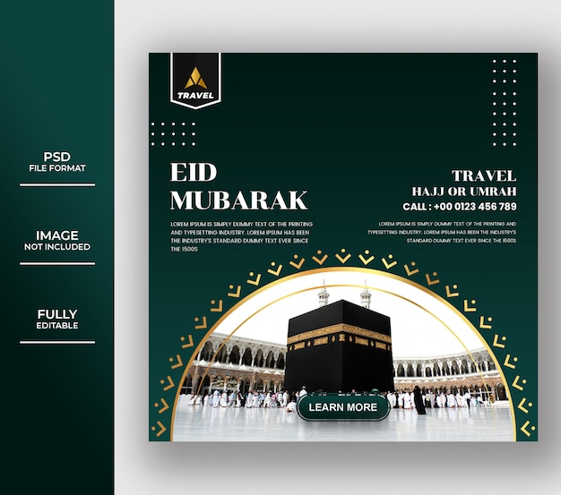 Islamic umrah and hajj tour and travel banner template