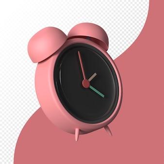 パステルカラーの分離された3d目覚まし時計