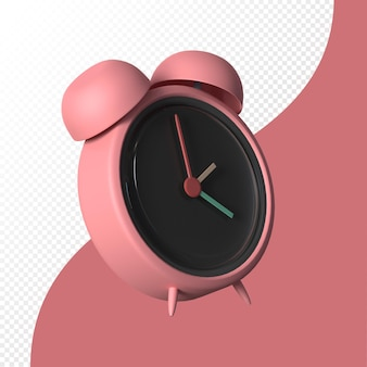 Isolated 3d alarm clock in pastel color