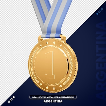 Изолированная 3d золотая медаль из аргентины за композицию