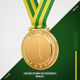 Изолированная 3d золотая медаль из бразилии за композицию