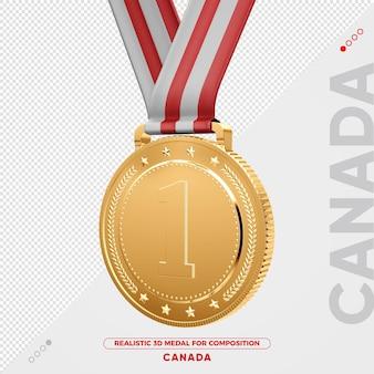 Изолированная 3d золотая медаль из канады за композицию