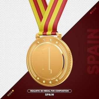 Изолированная 3d золотая медаль из испании за композицию