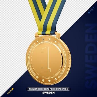 Изолированная 3d золотая медаль из швеции за композицию