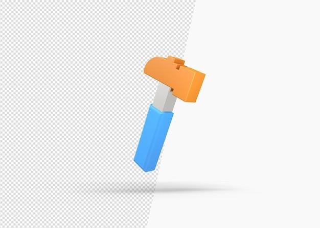 分離された3dハンマーアイコンのレンダリング