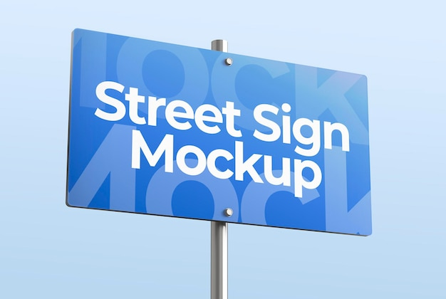 Isolated 3d mockup of street sign for advertising or branding