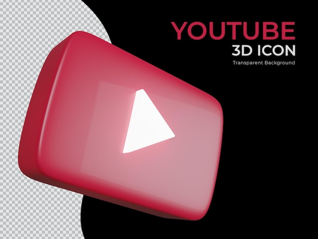 고립 된 3d 렌더링 된 youtube 투명 배경 png 아이콘