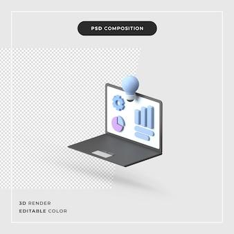 노트북과 격리 된 3d 렌더링 비즈니스 개념