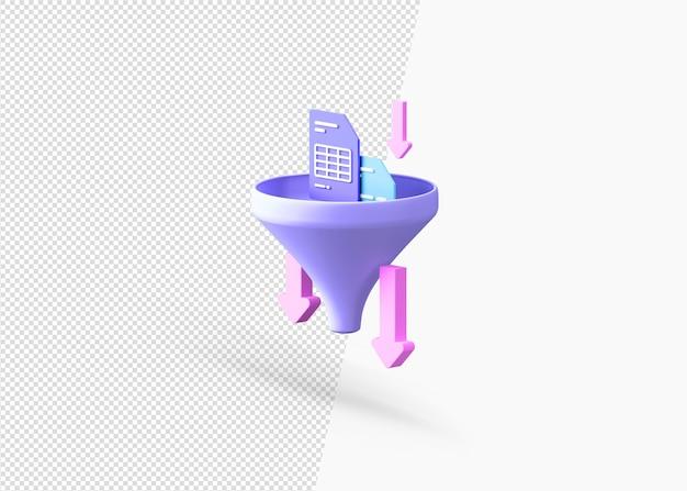 Изолированная концепция фильтрации информации 3d рендеринга