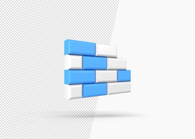 分離された3d壁アイコンのレンダリング