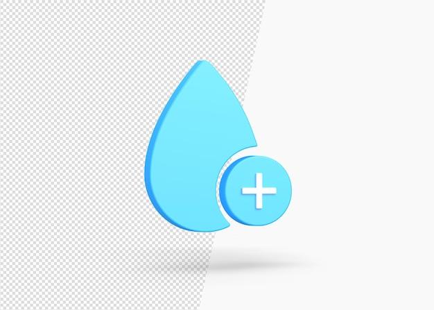 격리 된 3d 워터 드롭 플러스 아이콘 디자인