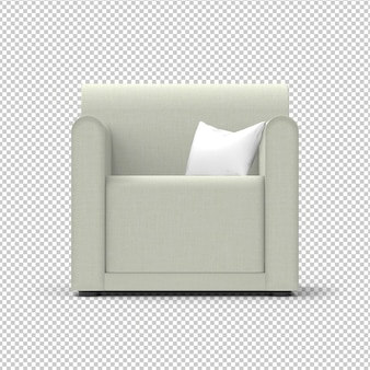 Isolated armchair. fabric, cream color