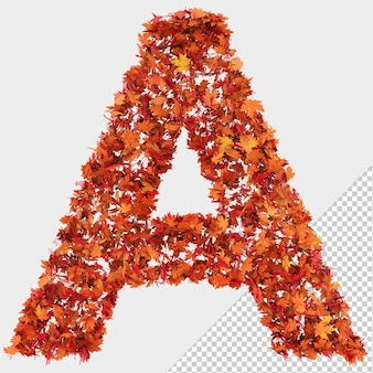 Isolated autumn leaves 3d letter a
