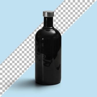 銀の帽子が付いている隔離された黒い瓶