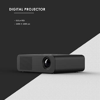 왼쪽 전면보기에서 격리 된 검은 색 디지털 프로젝터