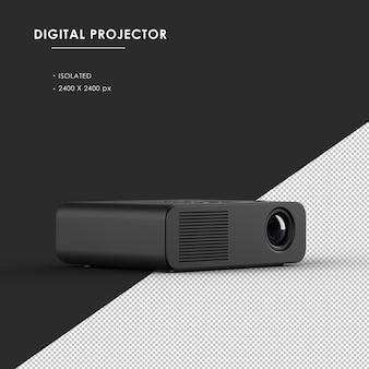 오른쪽 전면보기에서 분리 된 검은 색 디지털 프로젝터