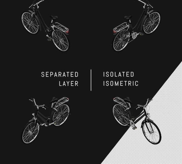 Isolated black generic bicycle isometric bicycle set